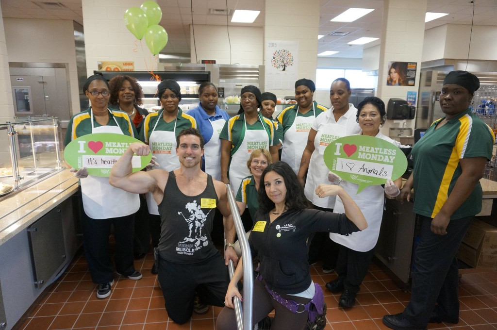 Posing with staff for the Meatless Monday kickoff celebration at a local high school!